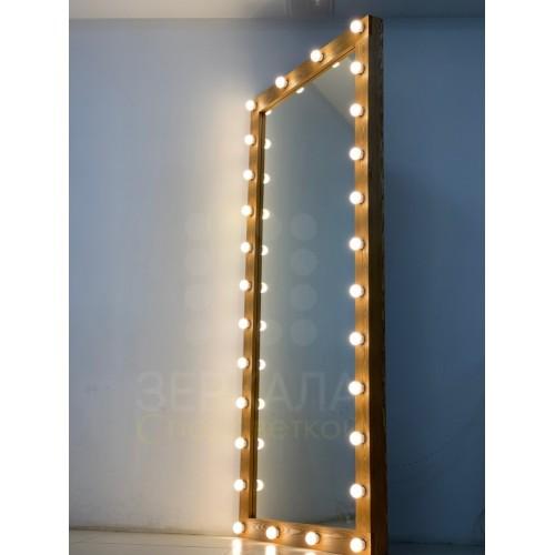 Гримерное зеркало цвета сосна 220х100 с подсветкой